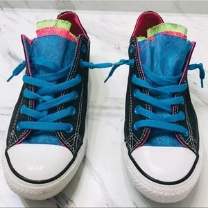 Converse Chuck Taylor Black & Neon Lace Sneakers